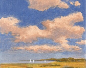 Summertime - Original Landscape Painting with Clouds and Fields 8x8 Sky Sea Boats