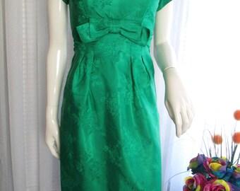 1960's Ladies Emerald Green Empire Pencil Figure Dress by EMMA DOMB