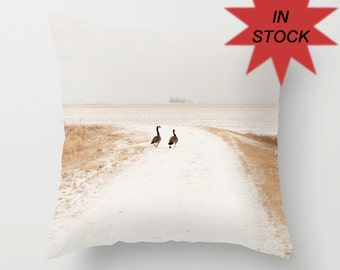 Canadian Geese Photo Pillow Cover, Manitoba Winter, Country Decor, Accent Cushion Case, Handmade in Canada, Mens Gift, Man Cave, Rustic