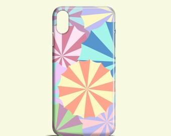 Colourful Umbrellas phone case / pastel iPhone X case, iPhone 8, Phone 7, 7 Plus, Phone 6S, 6, Phone 5, 5S, Samsung Galaxy S7, S6, S6 Edge