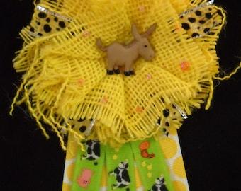 Burlap baby shower corsage
