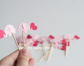 24 elephant cupcake toppers Pink Party Picks - Cupcake Toppers - Toothpicks - Food Picks