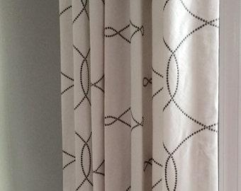 New! Curtains, Geometric/Latticework Pattern, Custom Drapes, Pinch Pleat Drapes, Window Panels, Made to Order, *Embroidered Interlock*