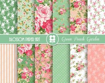 Digital Papers, Pink, Green Floral Digital Paper Pack, Scrapbooking Rose Papers - INSTANT DOWNLOAD  - 1933