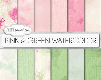 "Watercolor digital papers ""Pink & Green WATERCOLOR"" watercolour, Painted, Pink,Watercolor backgrounds, for Photographers, Scrapbookers, etc"