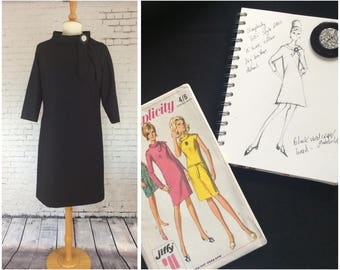 New black wool shift dress made from vintage 1960's pattern with vintage button detail,