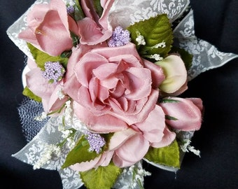 Corsage-Pink and Ivory Silk Wrist Corsage with Matching Boutonniere
