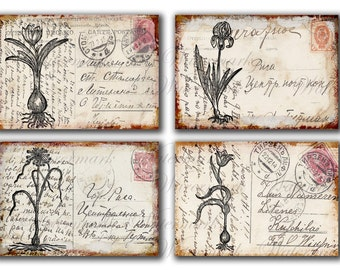 Vintage flowers on old POST CARDS, spring tulips, iris,   letters  4x6 -  Gift tags, Printable Digital Collage Sheets to Download and Print