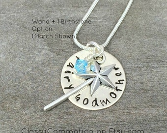 Fairy Godmother Necklace with Wand - Hand Stamped Jewelry