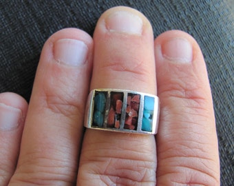 Vintage Sterling Silver  Ring With Inlay Red Coral and Turquoise Size 6