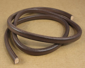 Leather Licorice Cord - Dark Brown - 1 meter x 10 mm x 7mm / 39 inches x 5/16 inch / great for stamping