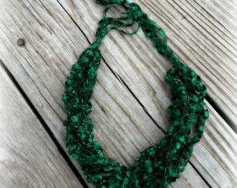 Ladder Yarn Necklace, GREEN Ribbon Necklace, Crocheted Ribbon Necklace, Fiber Jewelry , Ladder Necklace (Ready to Ship)