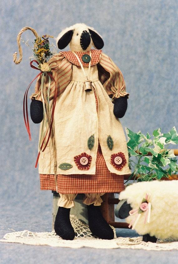 Little Baa Peep - Cloth Doll E-Pattern - 17in Lamb Sheep Shepherd Doll