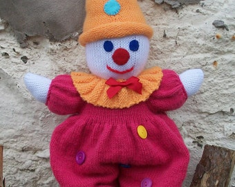 "Hand Knitted Clown, hand knitted, toy doll, suit, neck frill, red bow, clown hat, felt eyes, 20"" High"