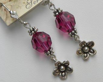 Pink Flower Earrings Sterling Silver Earrings Fuchsia Flower Long Pink Flower Earrings, Rose Pink Swarovski Crystal Earrings