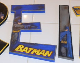 "10"" and UNDER - Batman Letter Set - Personalized by Name, Colors and Characters!"
