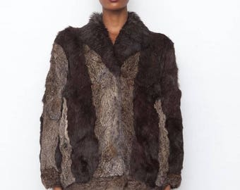 Vintage 1980's Chocolate Brown textured Multi colour Real Coney Fur Coat Jacket