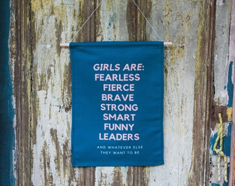 GIRL POWER/ girls are fearless / fierce girls wall hanging/ feminist banner /feminism,bedroom decor/mothers of daughters /feminsit daughter.