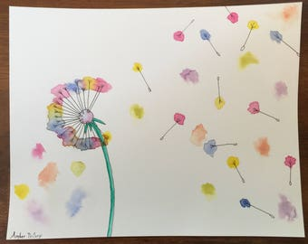 Colorful Wishes Watercolor and Ink Painting