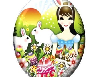 1 cabochon illustrated 30 x 40mm domed glass cabochon image Easter egg bunnies