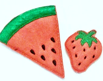 Felt play food - pretend food - play kitchen food - Vegetarian fruit set of 2 fruits - strawberry and watermelon  #PF2558