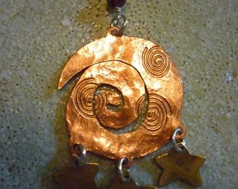 Celtic Moon Pendant by SquareHare, Free Postage, Vegan Jewellery