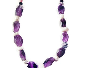 Amethyst Necklace, Pearl Necklace, Wedding Accessories, Statement Pearls Jewelry, Gemstones Necklace