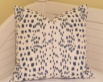 Brunschwig and Fils Les Touches -  in  Blue Animal Print Designer Pillow Cover - Square, Lumbar, and Euro Designer Pillow Covers