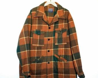 Pendleton wool coat lumberjack Northwest rustic Portland Oregon vintage brown green plaid field jacket Midcentury XL thick warm