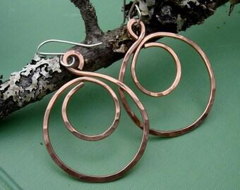 Big Copper Hoop Swirl Earrings, Hammered Hoop Earrings, Copper Jewelry, Copper Earrings, Big Copper Hoops, Teen Girl Gift for Her, Women
