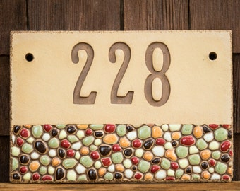 Ceramic Address House Number Sign for Outdoor Use / Housewarming or Wedding Gift / Beach, Cabin or Vacation Home / Pebbles / CUSTOM MADE