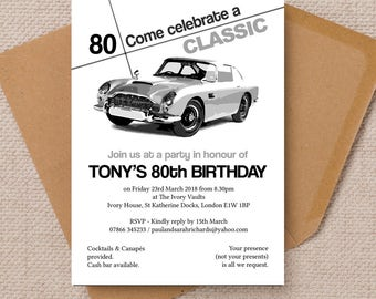 Personalised Mens Gents Stylish Classic Car Milestone Birthday Anniversary Party Invitations & Envelopes