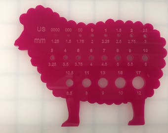 Sheep Knitting Gauge-Acrylic color: Pink