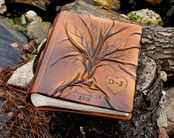 Personalized Wedding album  with Tree of Life for 200 photos 3rd leather anniversary gift