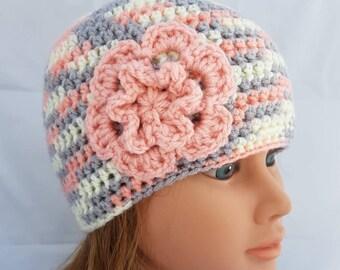 womens crochet hat, woman hat, girls crochet hat, beanie, vegan friendly hat, hat with flower, girl beanie, woman beanie, flower beanie, hat