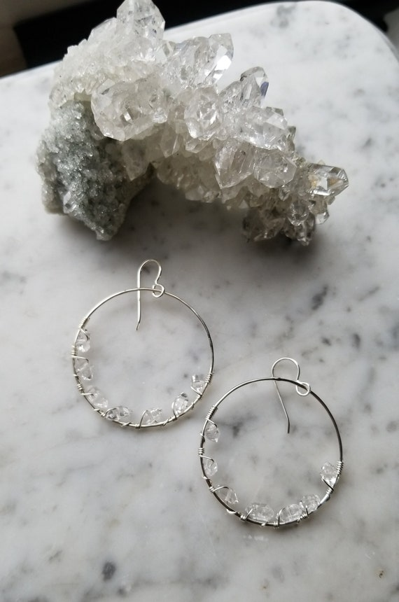 """1.5"""" wide Herkimer diamond lined sterling silver hoops Pleiades seven sisters half moon large"""