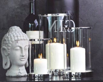 Windlight with glass cylinder + candle, silver plated, start-protected 20 cm model 2