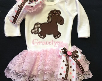 Newborn Baby Girl Clothes Monogramed  Horse Bodysuit with Attached Double Pink Lace Ruffle Skirt Baby Girl Headband Coming Home Outfit