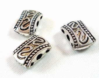 6 beads in antique silver, Tibetan style (pm14)