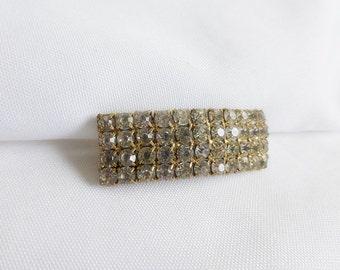 Rhinestone Paste Rectangular brooch