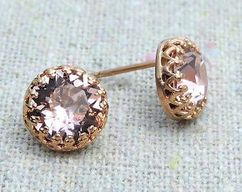 Swarovski Blush Pink Crystal Post Crown Earrings, Rose Gold Studs, Brilliant Chaton Round Earrings, Bridal Wedding Jewelry Bridesmaids Gifts