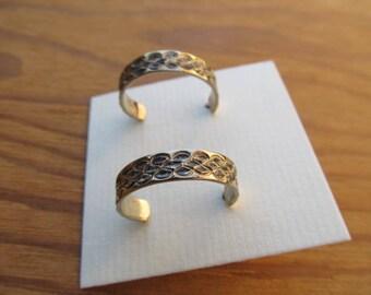 Vintage Patterned Sterling Silver 3/4 Hoop Pierced Earrings