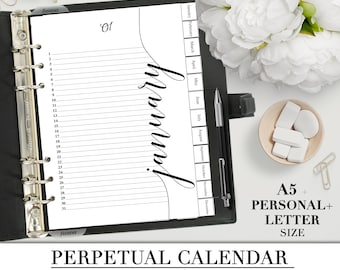 Printable MONTHLY CALENDAR  for you Letter, A5 and Personal Planner_PERPETUAL calendar_Calendar without year_Hand lettered