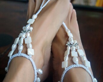 Bridal Barefoot Sandals, Pearl Beach Wedding Sandal, Romantic Butterfy Rhinestone Barefoot Sandal, 1 Pair