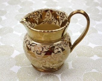 Wedgwood Lustreware Creamer Pitcher, Hand Painted Creamer, Staffordshire Earthenware Pitcher, c1905, Vintage Tea Party
