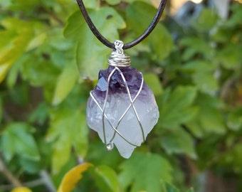Amethyst Necklace-Purple Crystal Necklace-Hippie Necklace-February Birthstone-Crystal Necklace-Unique Jewelry-Stone Necklace-Boho Necklace