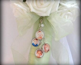 Photo Wedding Bouquet Charms (2 photos, 3 photos, 4 photos or 5 photos)