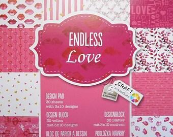 "Block 30 sheets 15 x 15 cm ""Endless love"" scrapbooking"