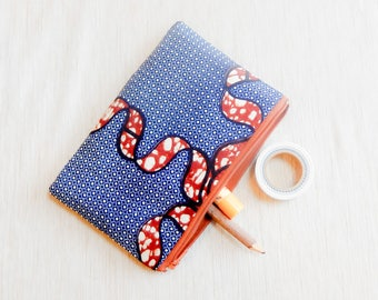 African Print Make Up Bag/ Gift for Her/ Mothers Day Gift/ Pencil Case/ Zipper Pouch/ BFF Gift/ Coworker Gift/ Gift for Women/ Wife Gift