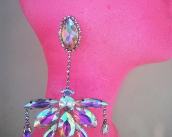 Dragqueen Jewelry Huge chandelier Earrings crystal ab